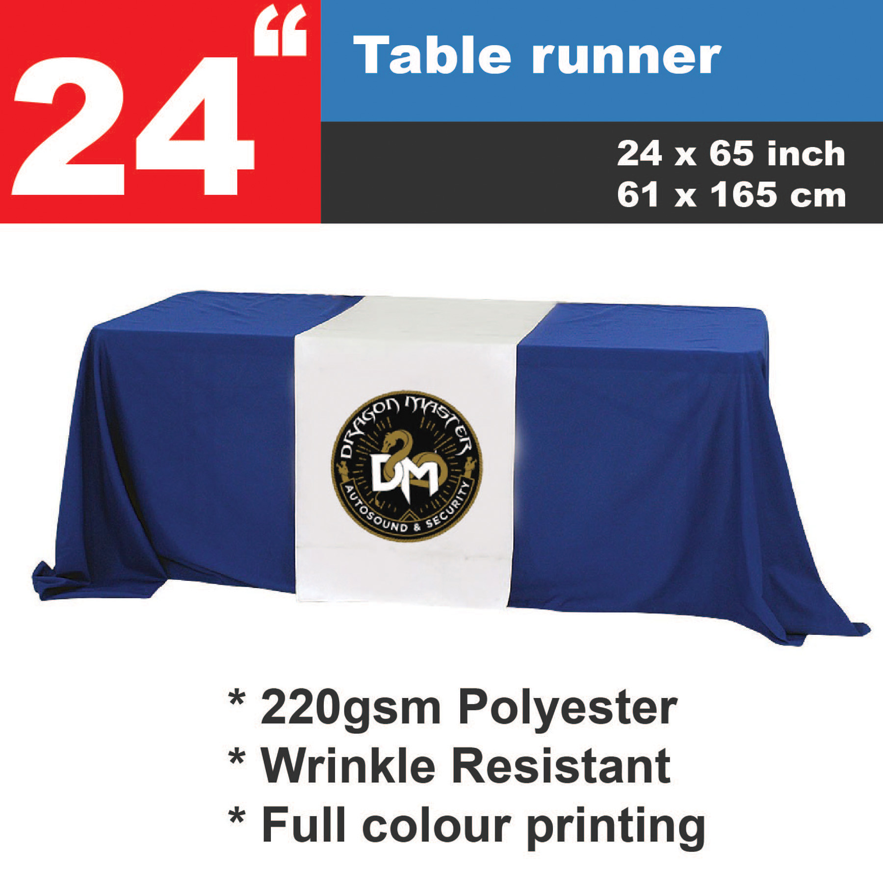 Personalized - 24 inch Custom Printed Table Runner