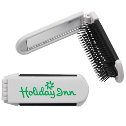 Personalized - Folding Hairbrush with Mirror